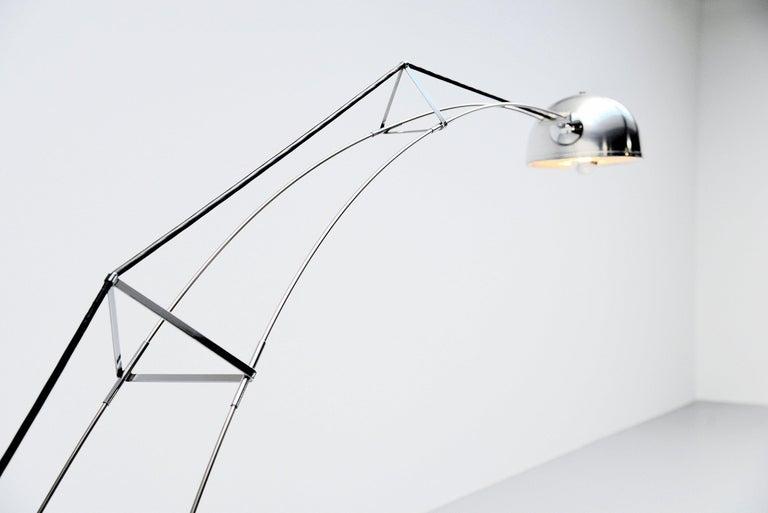 Aluminum Architectural arc floor lamp Italy 1970 For Sale