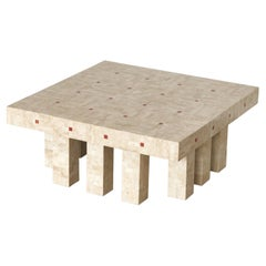 Architectural Belgian Coffee Table in Travertine