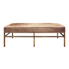 Architectural Bench in Pony Skin with Bronze Base, 1970s