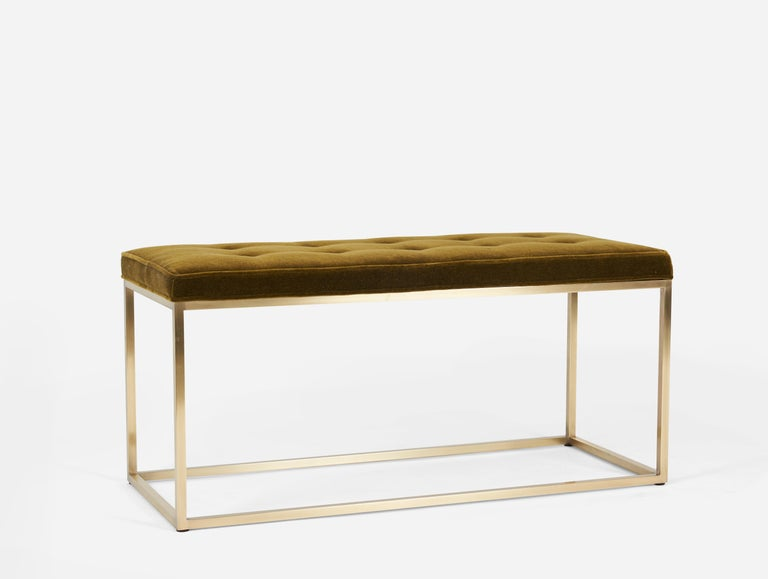 Architectural brass frame bench. Fully restored. New foam and mohair cushion, by Milo Baughman.