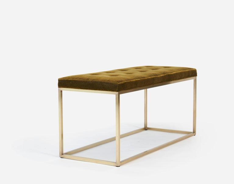 Mid-Century Modern Architectural Brass Frame Bench by Milo Baughman For Sale