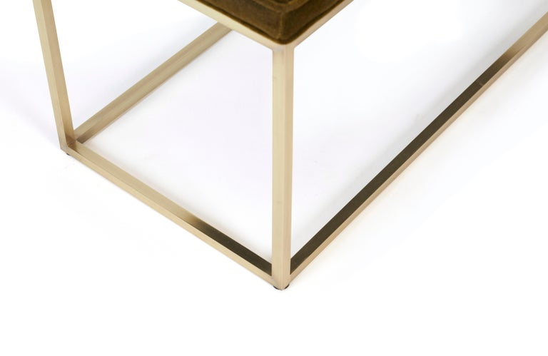 Architectural Brass Frame Bench by Milo Baughman In Excellent Condition For Sale In Chicago, IL