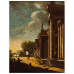 Architectural Capriccio Ruins and Herds Painting, 18th Century, Unsigned, Italy