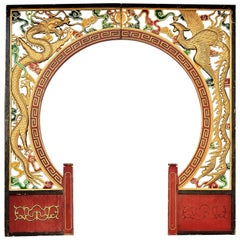 Architectural Carved Chinese Dragon and Phoenix Gold-Tone Archway
