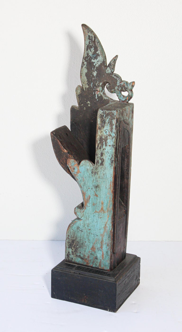 Architectural Carved Temple Wood Fragment For Sale 2