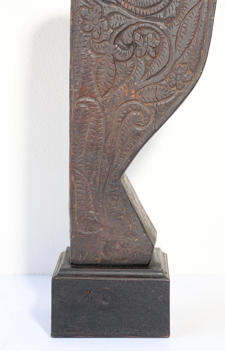 Indian Architectural Carved Wood Temple Fragment from India For Sale