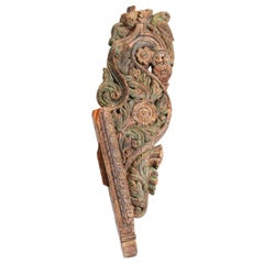 Architectural Carved Wood Temple Fragment from India