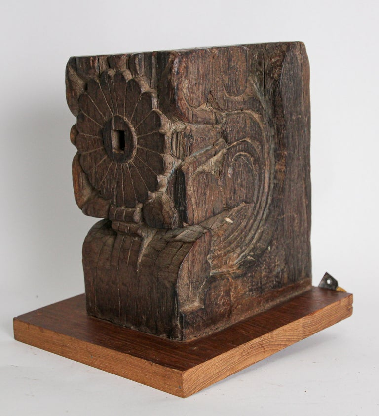 Architectural Carved Wood Temple Fragment Wall Bracket from India For Sale 3