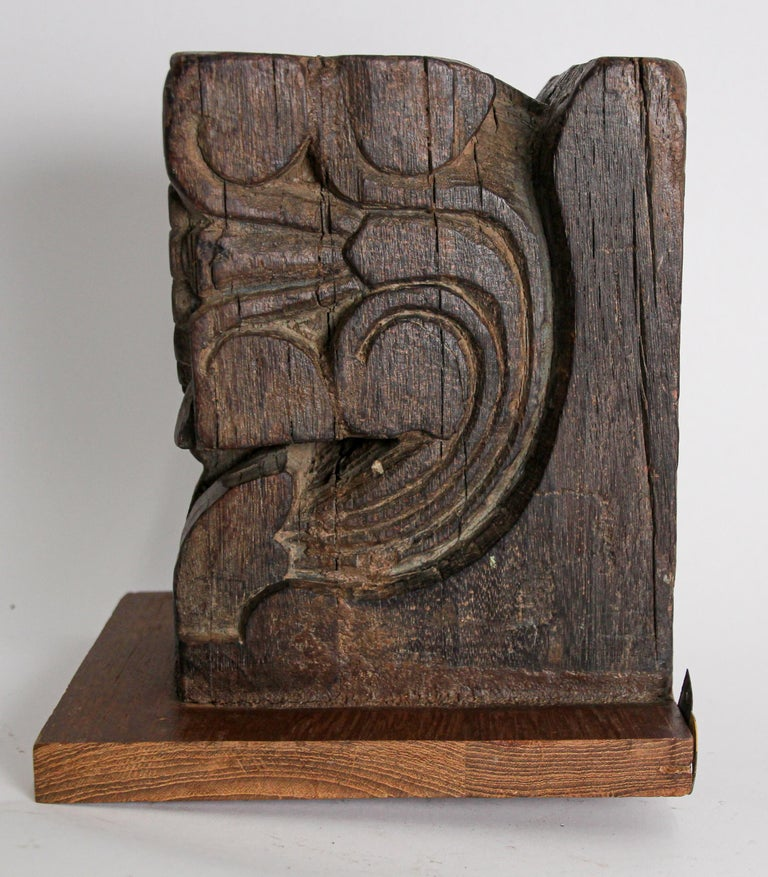 Architectural Carved Wood Temple Fragment Wall Bracket from India For Sale 4