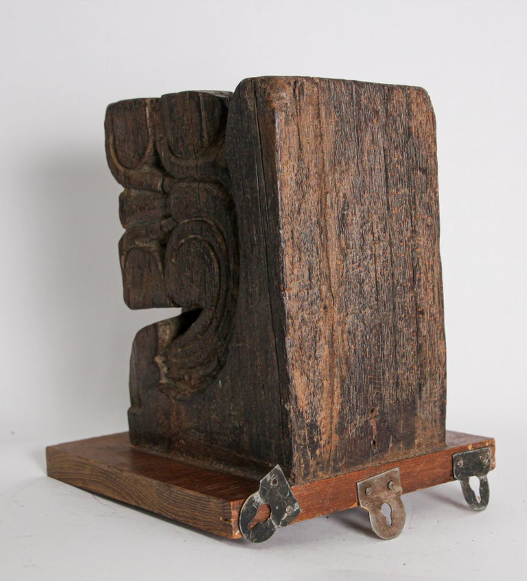Architectural Carved Wood Temple Fragment Wall Bracket from India For Sale 5