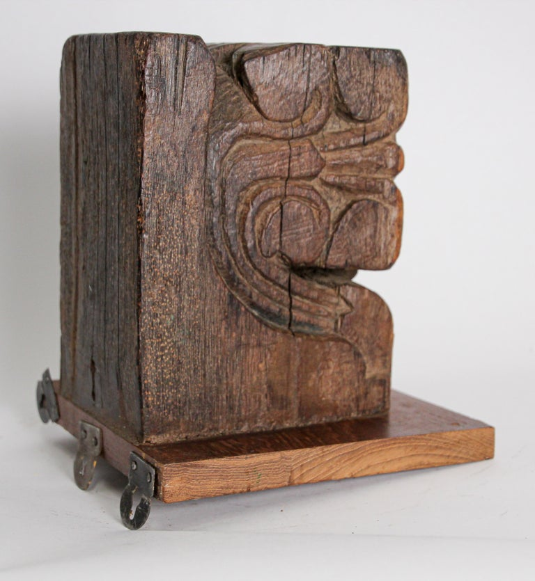 Architectural Carved Wood Temple Fragment Wall Bracket from India For Sale 6
