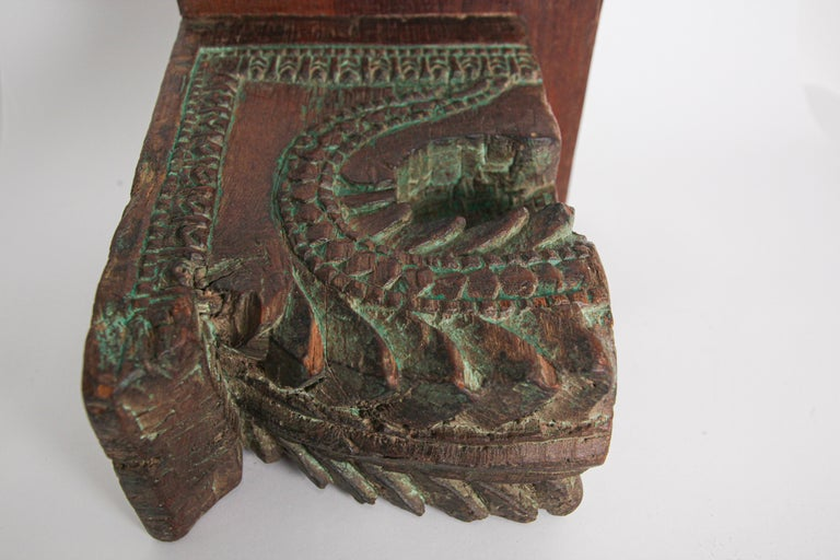 Architectural Carved Wood Temple Fragment Wall Bracket from India For Sale 7