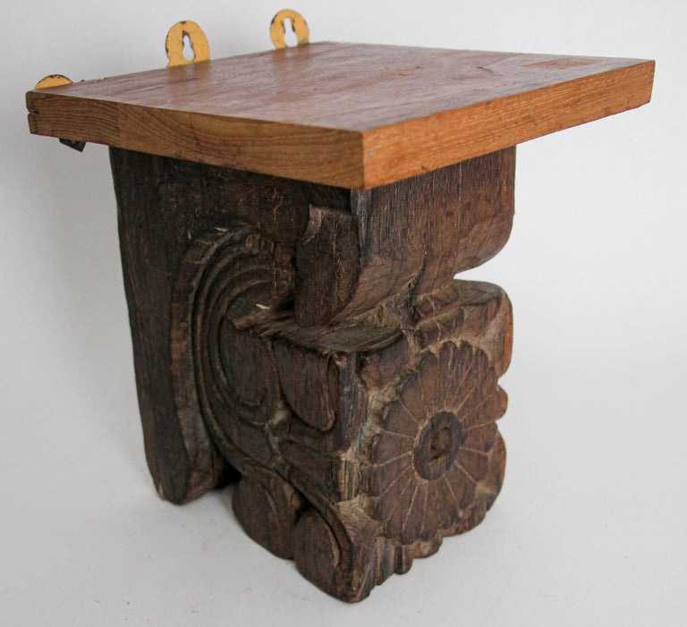Anglo Raj Architectural Carved Wood Temple Fragment Wall Bracket from India For Sale