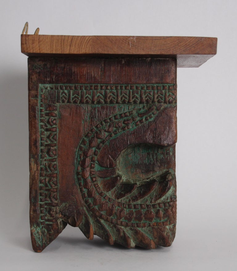 Indian Architectural Carved Wood Temple Fragment Wall Bracket from India For Sale