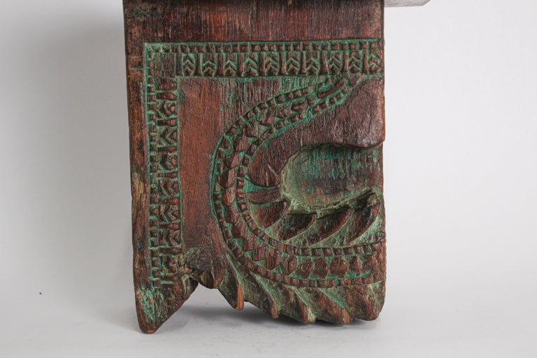 Hand-Carved Architectural Carved Wood Temple Fragment Wall Bracket from India For Sale