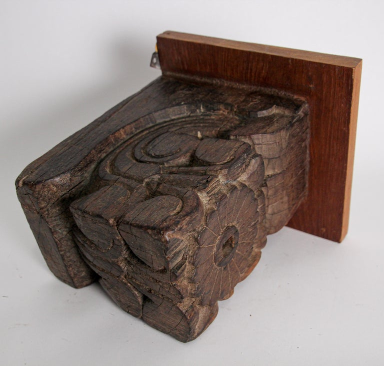 Architectural Carved Wood Temple Fragment Wall Bracket from India In Fair Condition For Sale In North Hollywood, CA