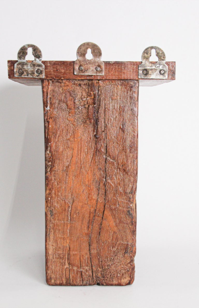 18th Century Architectural Carved Wood Temple Fragment Wall Bracket from India For Sale