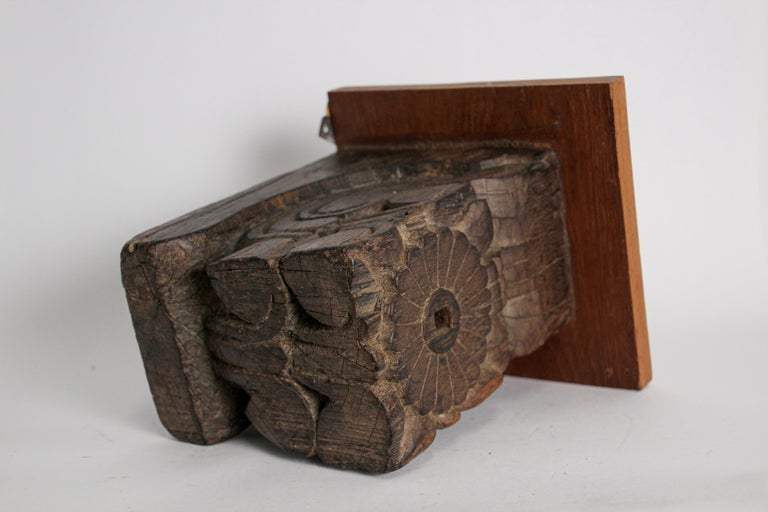 Architectural Carved Wood Temple Fragment Wall Bracket from India For Sale 1