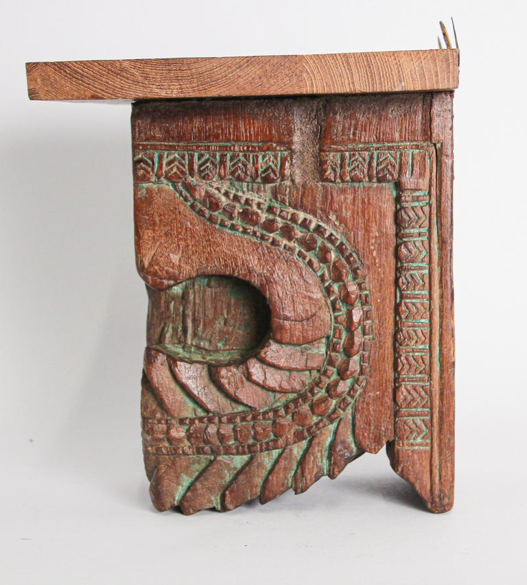 Architectural Carved Wood Temple Fragment Wall Bracket from India For Sale 2