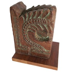 Architectural Carved Wood Temple Fragment Wall Bracket from India