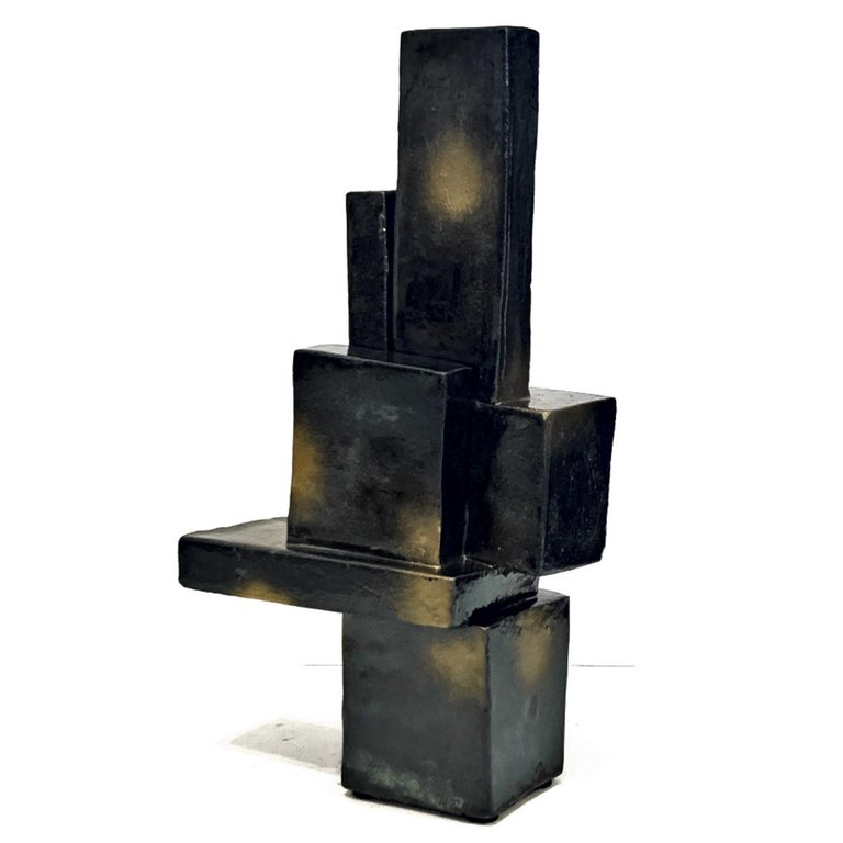 Architectural Ceramic Sculpture with Palladium and Gold Glaze by Judy Engel In Excellent Condition For Sale In Hudson, NY