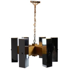 Architectural Chrome and Oak Spoke Form Chandelier