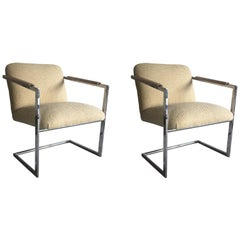 Cantilevered Chrome Pair of Chairs in the Manner of Milo Baughman