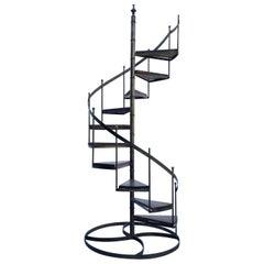 Architectural Circular Wrought Iron Display Staircase
