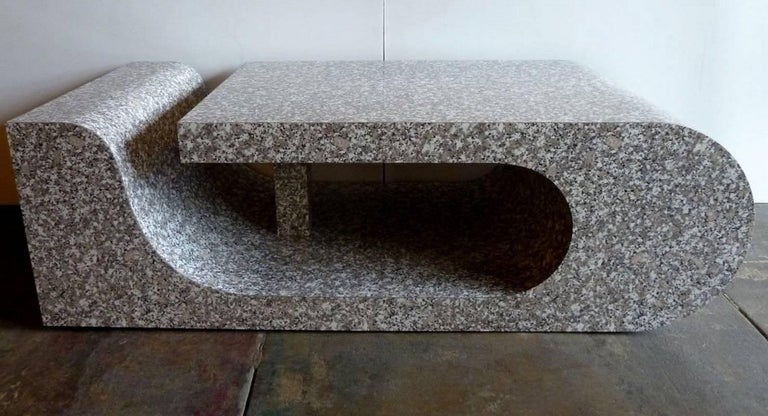 Architectural Coffee Table in Faux Marble Finish In Excellent Condition For Sale In Los Angeles, CA