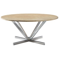 Architectural Coffee Table in Granite and Chrome