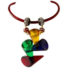 Architectural Colorful Acrylic Diamante Drop Statement Pendant Necklace