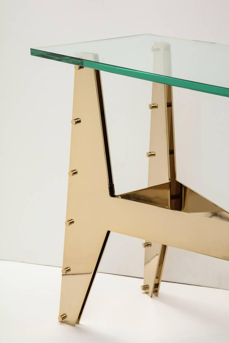 Polished Architectural Console Table For Sale