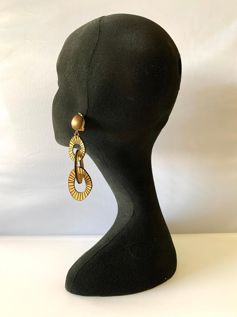 Architectural Contemporary Designer Bronze and Gold Statement Earrings In New Condition In Palm Springs, CA