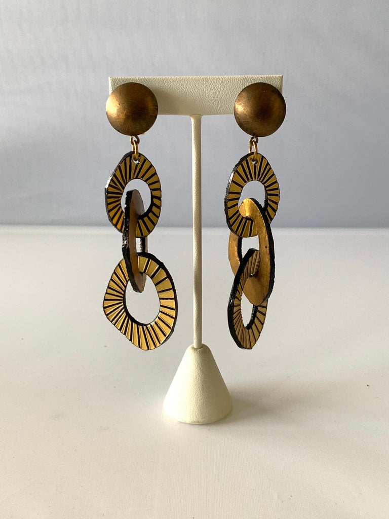 Women's Architectural Contemporary Designer Bronze and Gold Statement Earrings