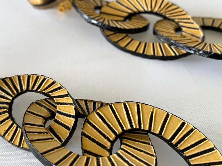 Architectural Contemporary Designer Bronze and Gold Statement Earrings 1