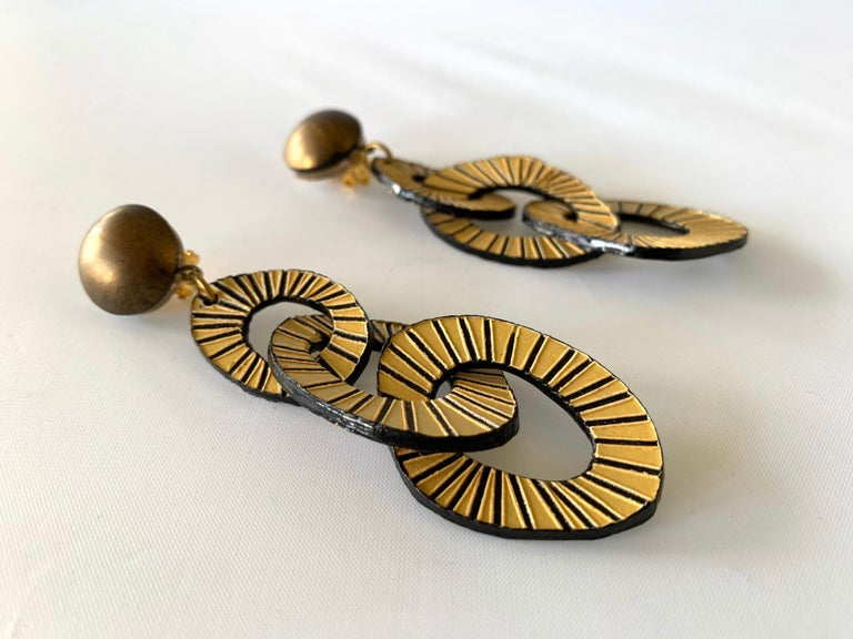 Architectural Contemporary Designer Bronze and Gold Statement Earrings 3
