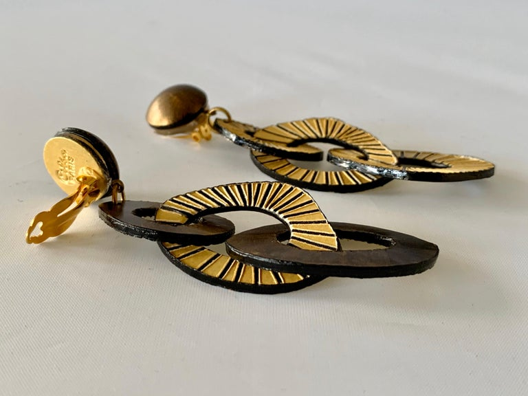 Architectural Contemporary Designer Bronze and Gold Statement Earrings 4