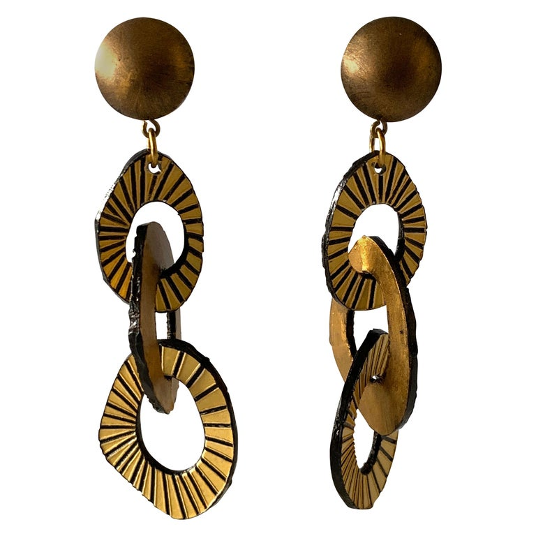 Architectural Contemporary Designer Bronze and Gold Statement Earrings