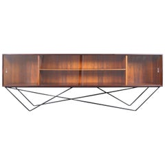 Architectural Danish Low Profile Rosewood Bookcase / Credenza