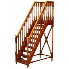 Architectural Decorative Victorian Walnut and Brass Library Steps Ladder, Stairs