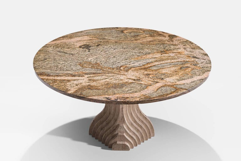 Post-Modern Architectural Dining Table in Travertine For Sale