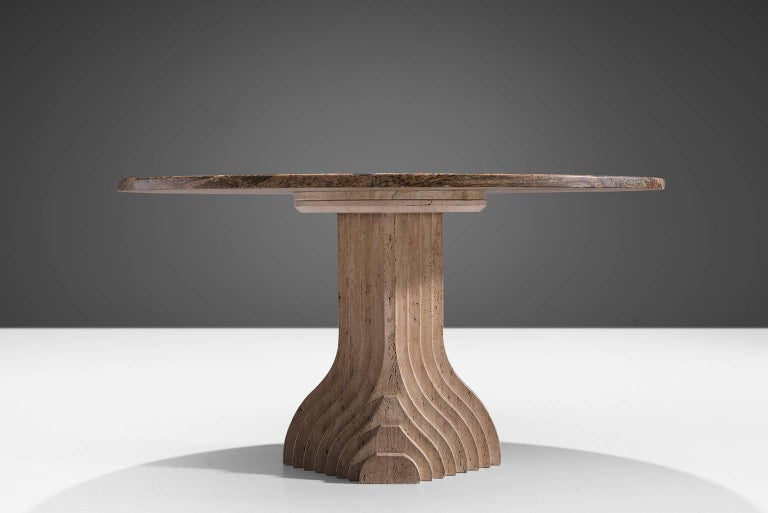 Italian Architectural Dining Table in Travertine For Sale