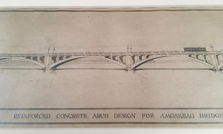 A finely rendered architectural pencil drawing of the Amoskeag Bridge, Manchester, New Hampshire, American, circa 1920. The bridge is beautifully and very precisely delineated, with light posts and an electric tram crossing it and a train locomotive