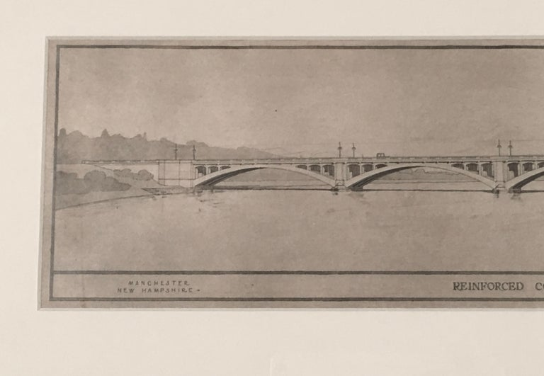 American Architectural Drawing of the Amoskeag Bridge Manchester New Hampshire circa 1920 For Sale