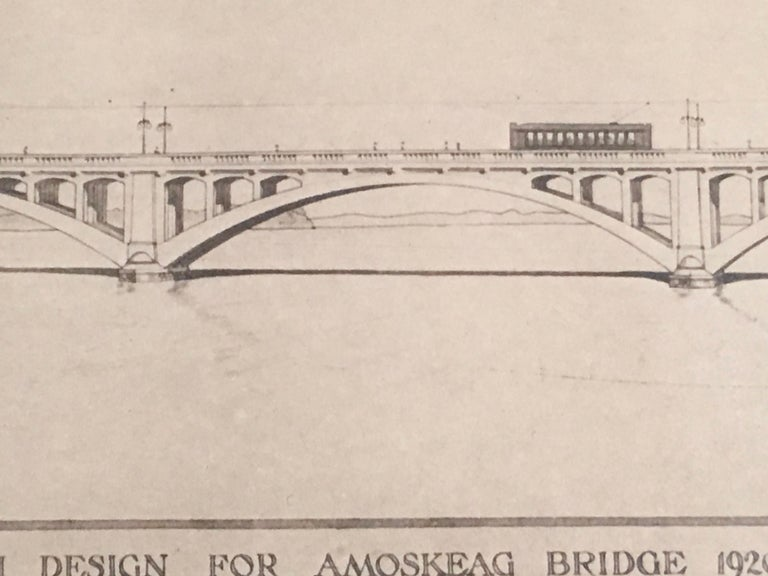 Architectural Drawing of the Amoskeag Bridge Manchester New Hampshire circa 1920 In Good Condition For Sale In Essex, MA