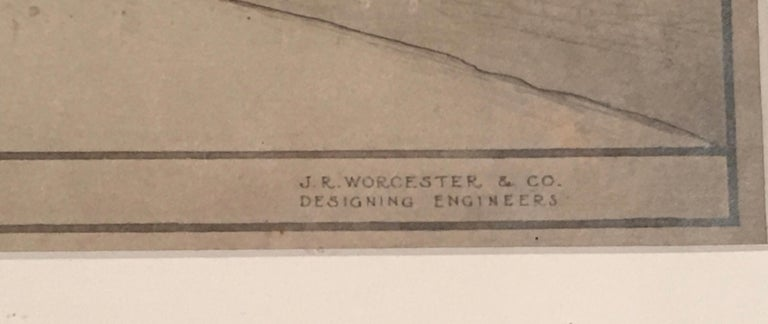 Early 20th Century Architectural Drawing of the Amoskeag Bridge Manchester New Hampshire circa 1920 For Sale