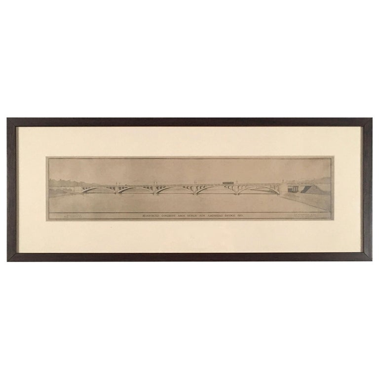 Architectural Drawing of the Amoskeag Bridge Manchester New Hampshire circa 1920 For Sale