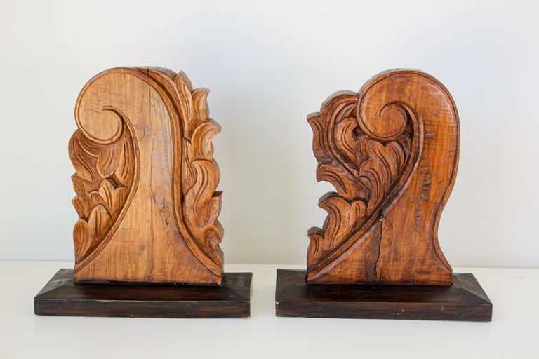 Pair of mounted antique architectural carved wood fragment from Europe mounted.
