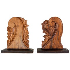 Architectural European Mounted Carved Wood Fragment, Pair