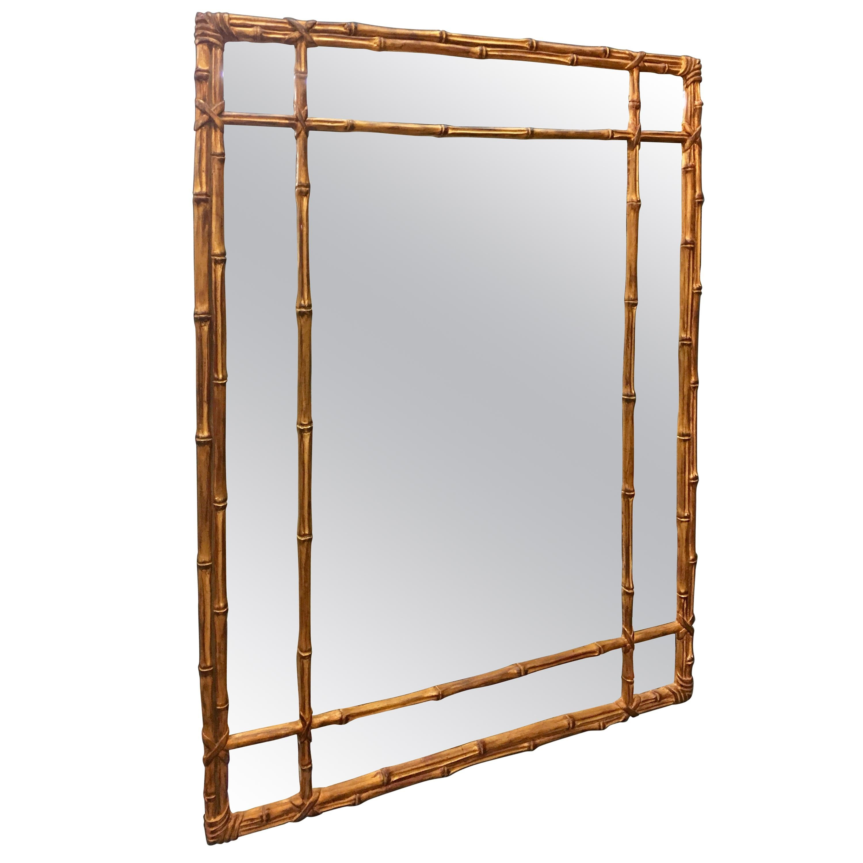Chinese Chippendale Faux Bamboo Chinoiserie Style Mid Century Gilt Wall Mirror